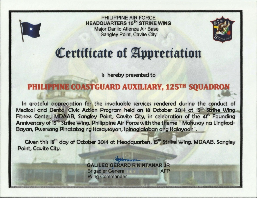 2014 the 125th auxiliary squadron receives warm appreciation and recognition from the philippine air forces 15th strike wing and the alpha phi omega peza cavite yadclub Choice Image